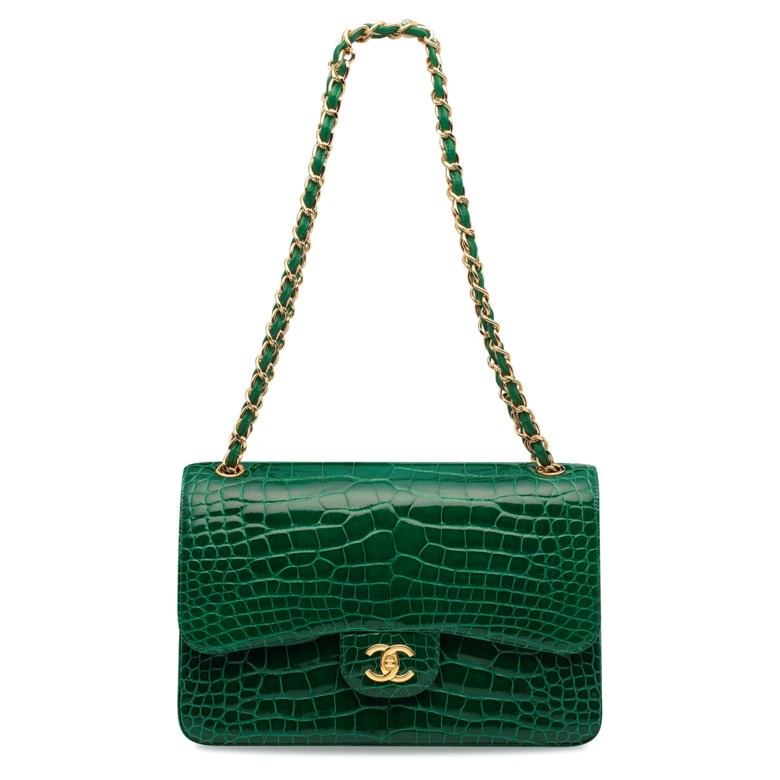 A shiny emerald green alligator jumbo double flap with gold hardware, Chanel, 2012. 30w x 20h x 8d cm. Estimate HK$70,000-90,000. Offered in Handbags & Accessories  on 30 May at Christie's in Hong Kong