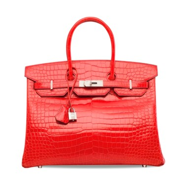 6e89811616 An exceptional, shiny géranium porosus crocodile diamond Birkin 35 with 18k  white gold & diamond