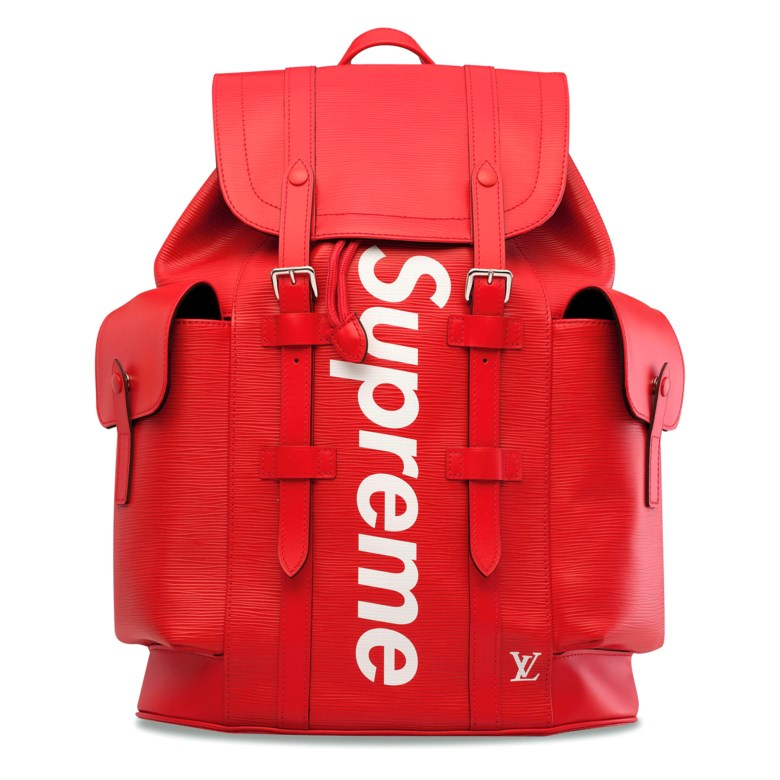 86aa7562c4b3 A limited-edition red & white epi leather Christopher backpack with silver  hardware by Supreme