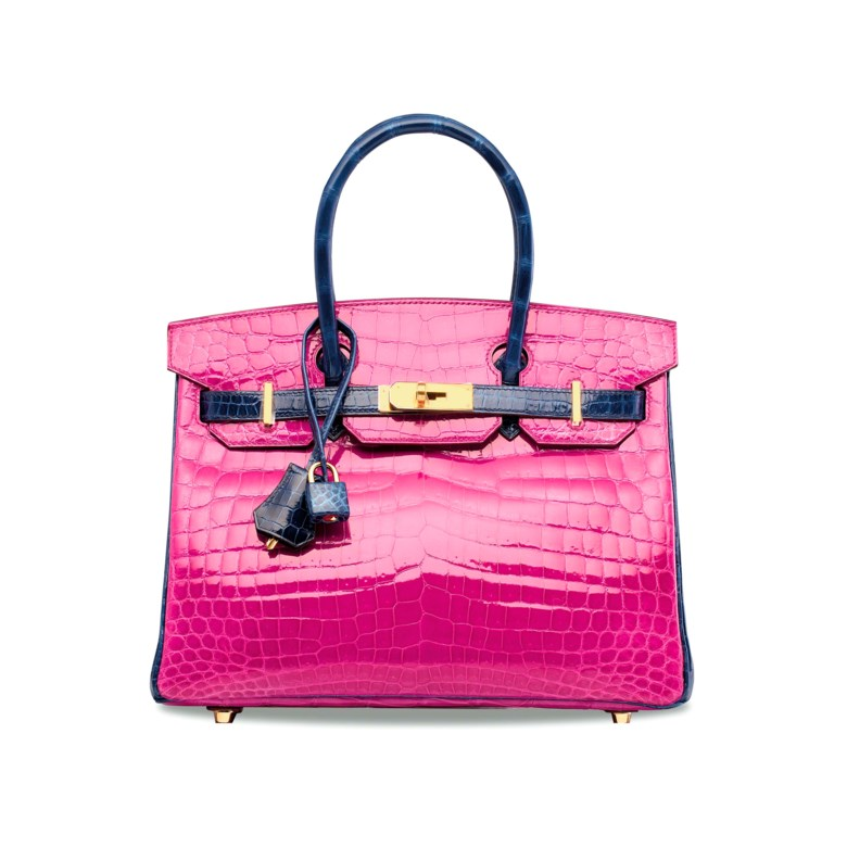 A custom shiny Rose Schéhérazade & Bleu Saphir niloticus crocodile Birkin 30 with gold hardware, Hermès, 2016. 30 w x 22 h x 15 d cm. Sold for HK$850,000 on 30 May 2018 at Christie's in Hong Kong