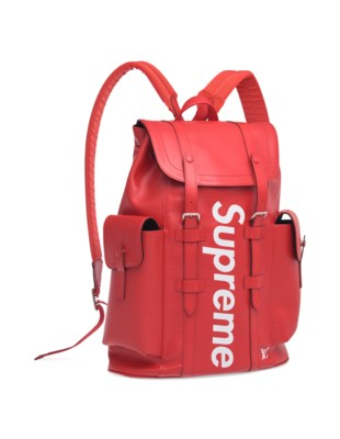 d3f1b0dc1dd6 A LIMITED EDITION RED   WHITE EPI LEATHER CHRISTOPHER BACKPACK WITH SILVER  HARDWARE BY SUPREME