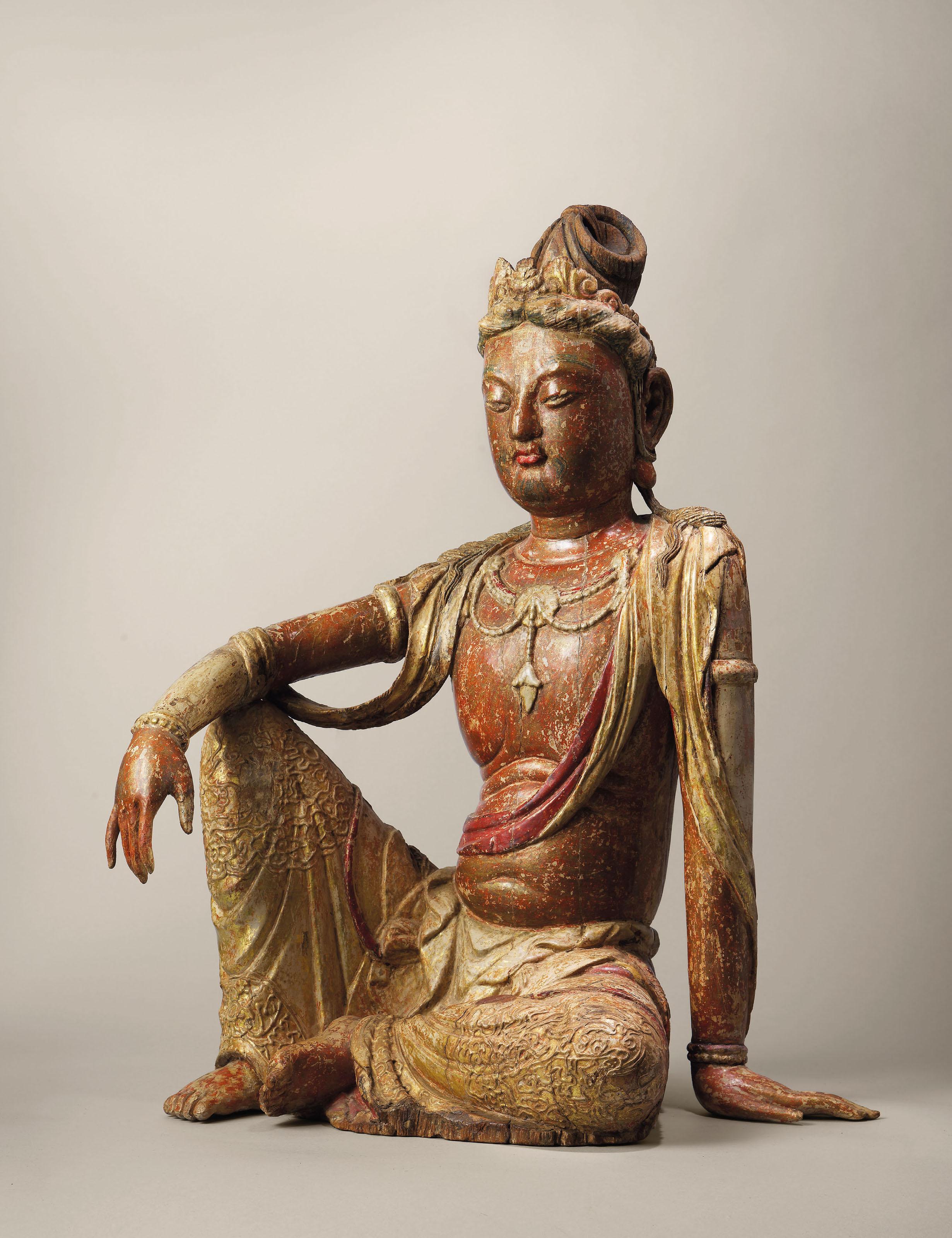 Chinese Wood Carving Buddhism Guanyin Bodhisattva Buddha Head Small Statue