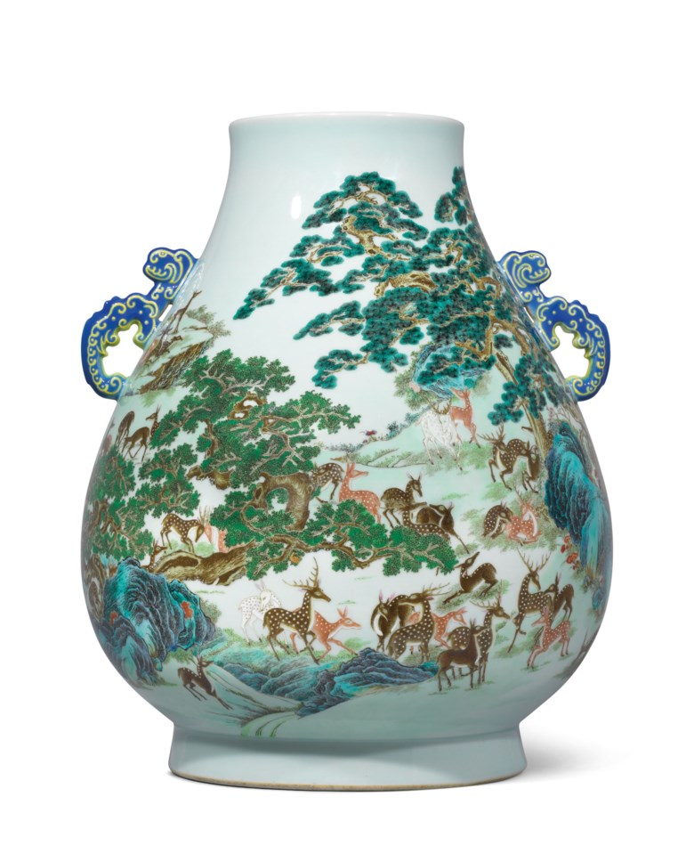A magnificent and exceptionally rare Yangcai 'Hundred Deer' blue-handled vase, hu, Qianlong six-character seal mark in underglaze blue and of the period (1736-1795). 17½  in (44.5  cm) high, box. Sold for HK$45,100,000 on 28 November 2018 at Christie's in Hong Kong