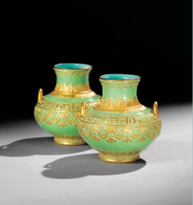 AN EXCEPTIONALLY RARE PAIR OF GILT-DECORATED AND ENAMELLED V