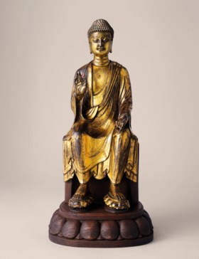 A HIGHLY IMPORTANT GILT-BRONZE FIGURE OF MAITREYA BUDDHA