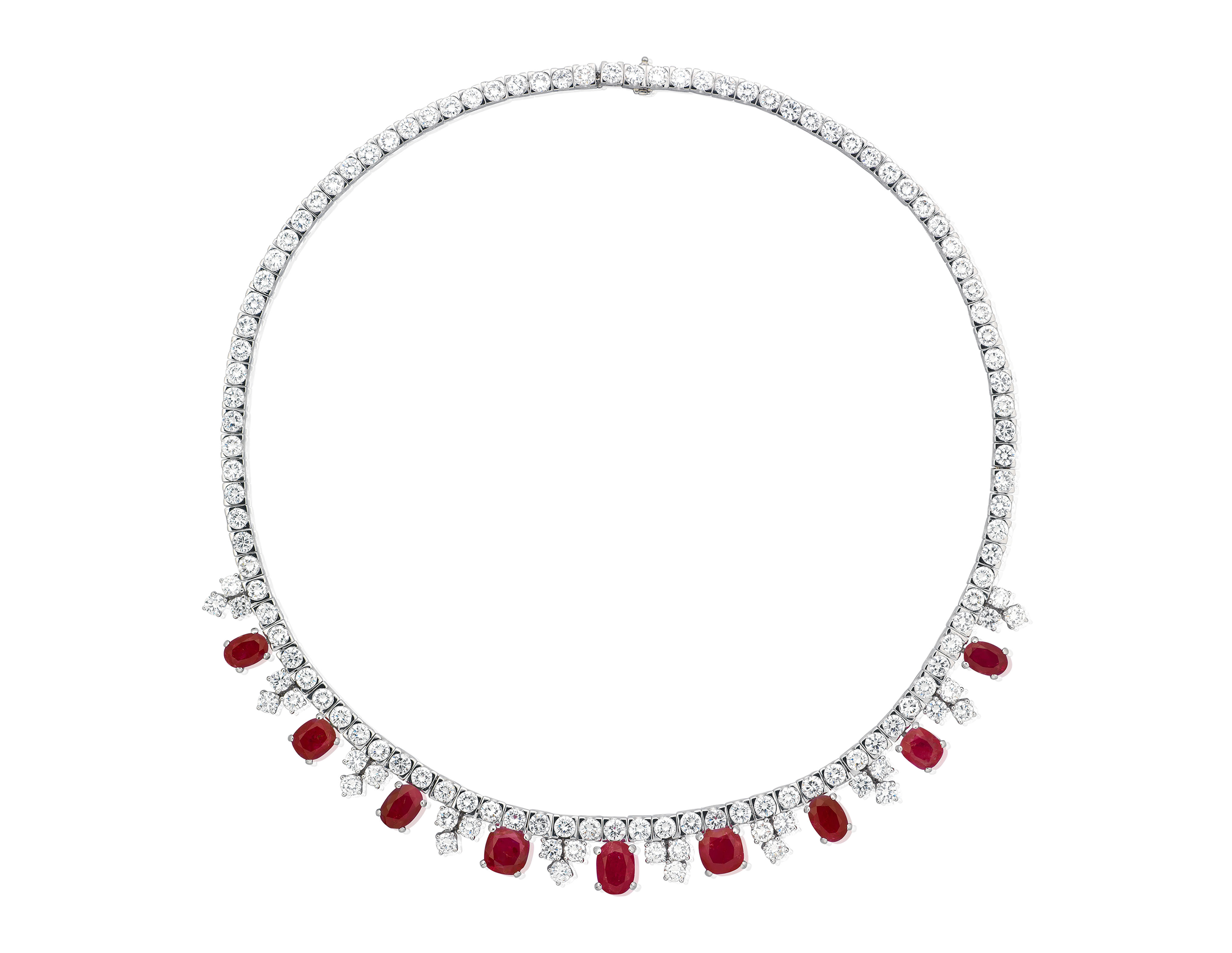 RUBY AND DIAMOND NECKLACE WITH GIA REPORT