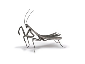 A silver articulated sculpture of a praying mantis