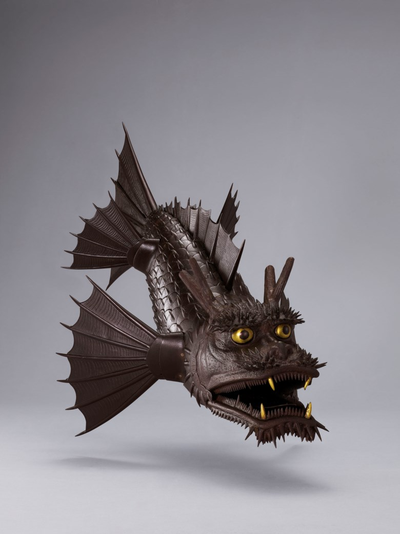 An iron articulated sculpture of a mythical beast (shachi), Edo period (18th-19th century). 20 ½  in (52.1  cm) long. Estimate HK$2,800,000-4,000,000. This lot is offered in The Meiji Aesthetic Selected Masterpieces from a Private Asian Collection on 27 November 2018 at Christie's in Hong Kong