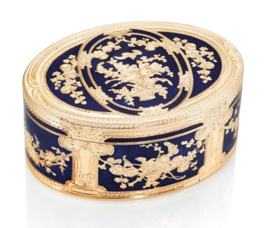 A German enamelled gold snuff-box, Maker's mark MC crowned, Hanau, circa 1840, with inventory number 113. 3⅜  in (85  mm) wide. Estimate HK$320,000-550,000. This lot is offered in Gold Boxes on 25 November 2018 at Christie's in Hong Kong