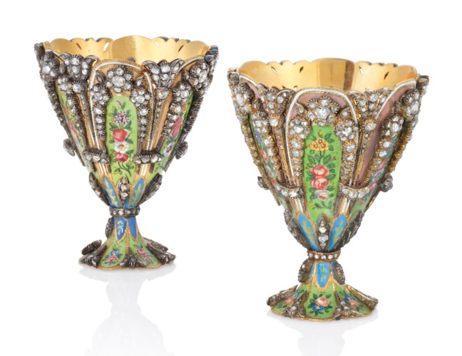 A PAIR OF SWISS JEWELLED ENAME