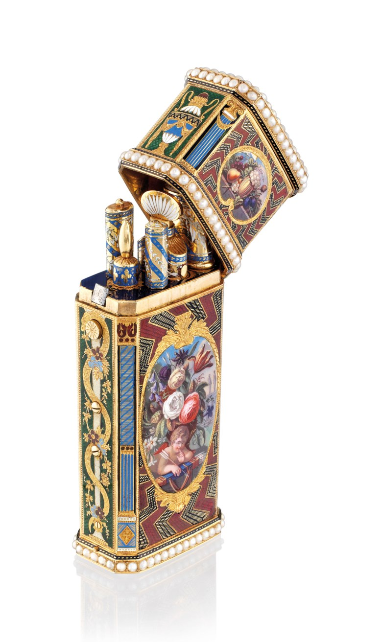 A Swiss jewelled enamelled musical gold Nécessaire set with a watch and an automaton, Geneva, circa 1830. 3⅜  in (86  mm) high. Sold for HK$1,500,000 on 25 November 2018 at Christie's in Hong Kong