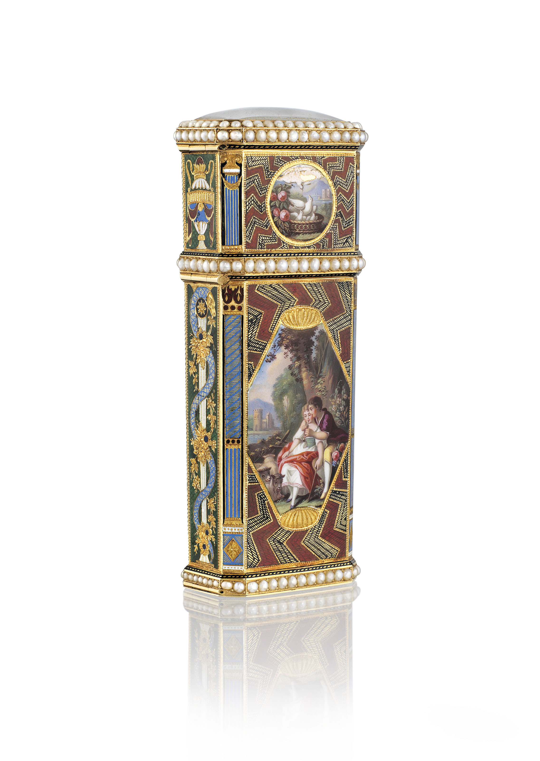 A SWISS JEWELLED ENAMELLED MUSICAL GOLD NECESSAIRE SET WITH A WATCH AND AN AUTOMATON