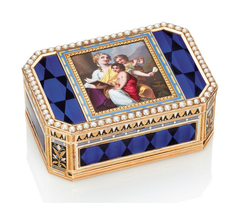 A Swiss jewelled enamelled musical gold snuff-box with automaton, the music lesson. The box by Guidon, Gide & Blondet Fils (FL. 1801-1804), marked, Geneva, circa 1804, the movement with scratched signature 'ANT. ROJARD À GENÈVE, INVINIT ET FECIT, NO 2170,  FOR ANTOINE ROJARD, GENEVA'. Estimate HK$850,000-1,300,000. This lot is offered in Gold Boxes on 25 November 2018