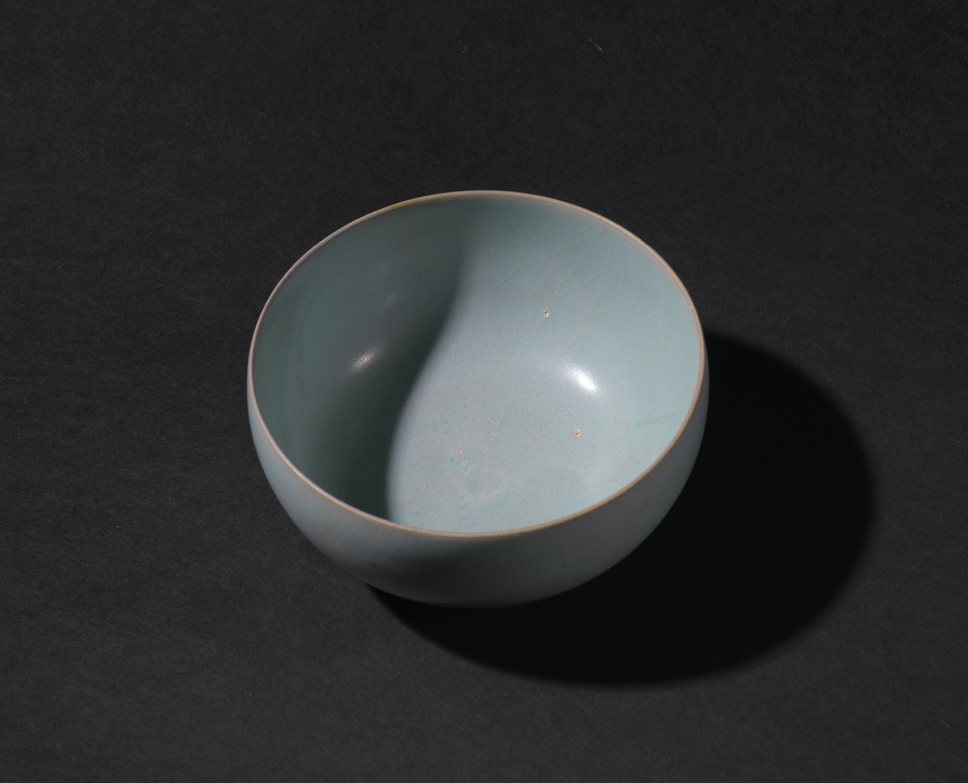 AN IMPORTANT AND EXTREMELY RARE RU 'SKY-BLUE' TEA BOWL