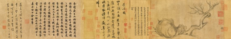 Su Shi (1037-1101), Wood and Rock. Handscroll, ink on paper. Painting 26.3 x 50 cm (10⅜ x 19¾ in). Painting and colophons 26.3 x 185.5 cm. (10⅜ x 73 in). Overall with mounting 27.2 x 543 cm (10¾ x 213¾ in). Sold for HK$463,600,000 on 26 November 2018 at Christie's in Hong Kong