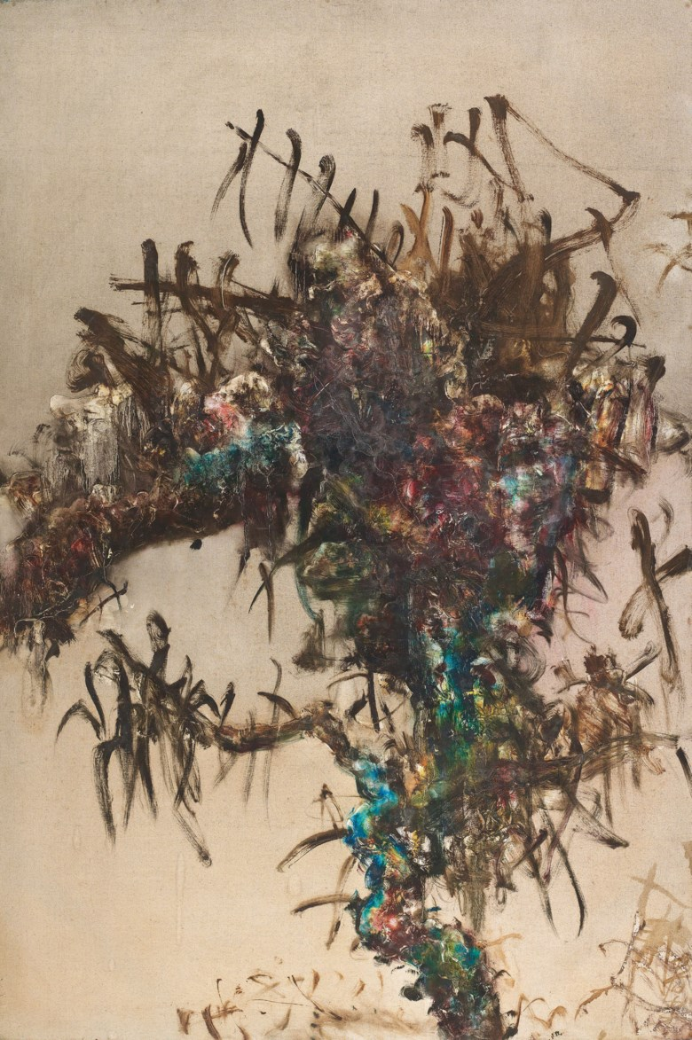 Zhou Chunya (b. 1955), Tree Series, painted in 1993. 195 x 130  cm (76¾ x 51⅛  in). Sold for HK$30,100,000 on November 26 2018 at Christie's in Hong Kong