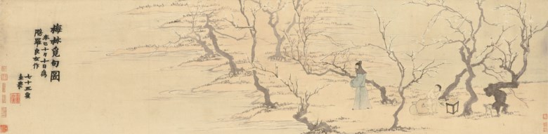 Jin Nong (1687-1763), Seeking inspiration amongst plum blossoms. 32.5 x 131.5  cm (12¾ 51¾  in). Sold for HK$16,900,000 on 26 November 2018 at Christie's in Hong Kong