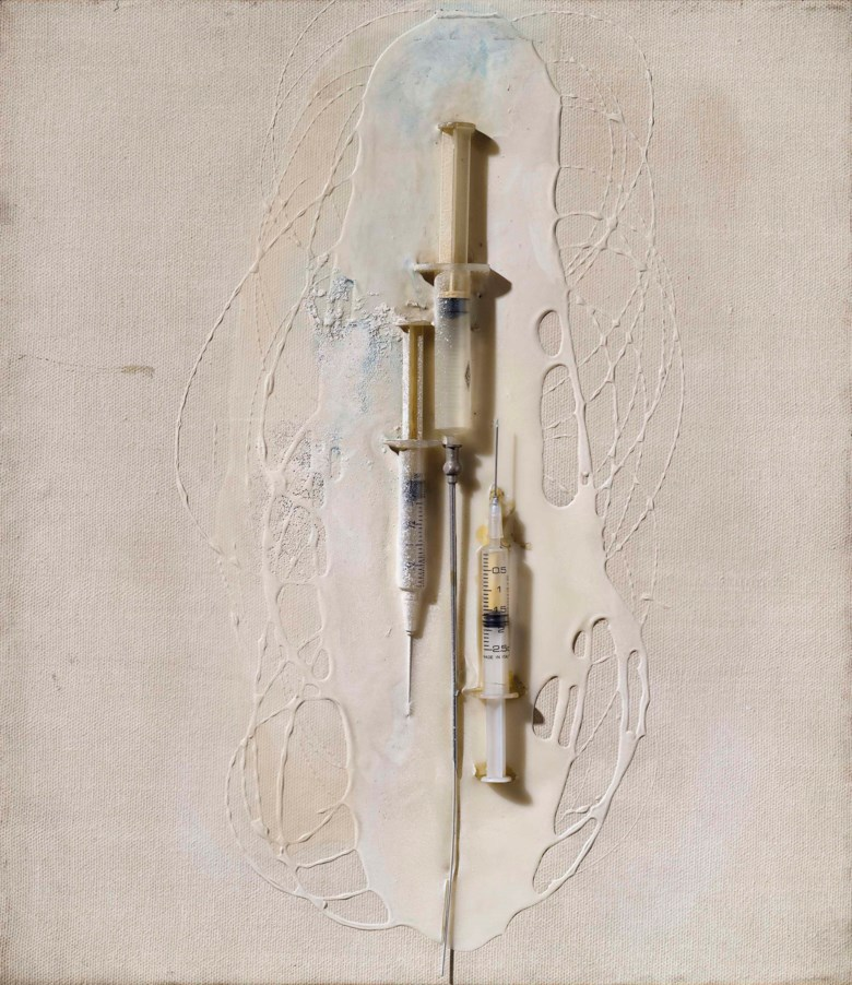 Olga Carol Rama (1918-2015), Senza titolo, c. 1967. Syringes and oil on canvas. 40 x 35 cm. Estimate €40,000-60,000. This lot is offered in Milan Modern and Contemporary Art on 11 April at Christie's in Milan