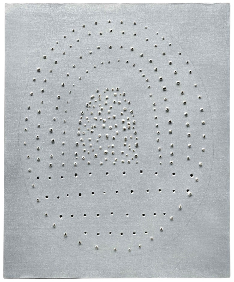 Lucio Fontana (1899-1968), Concetto spaziale, 1966. 73.5 x 60.5 cm. Estimate €800,000-1,200,000. This lot is offered in Milan Modern and Contemporary Art on 11 April 2018  at Christie's in Milan