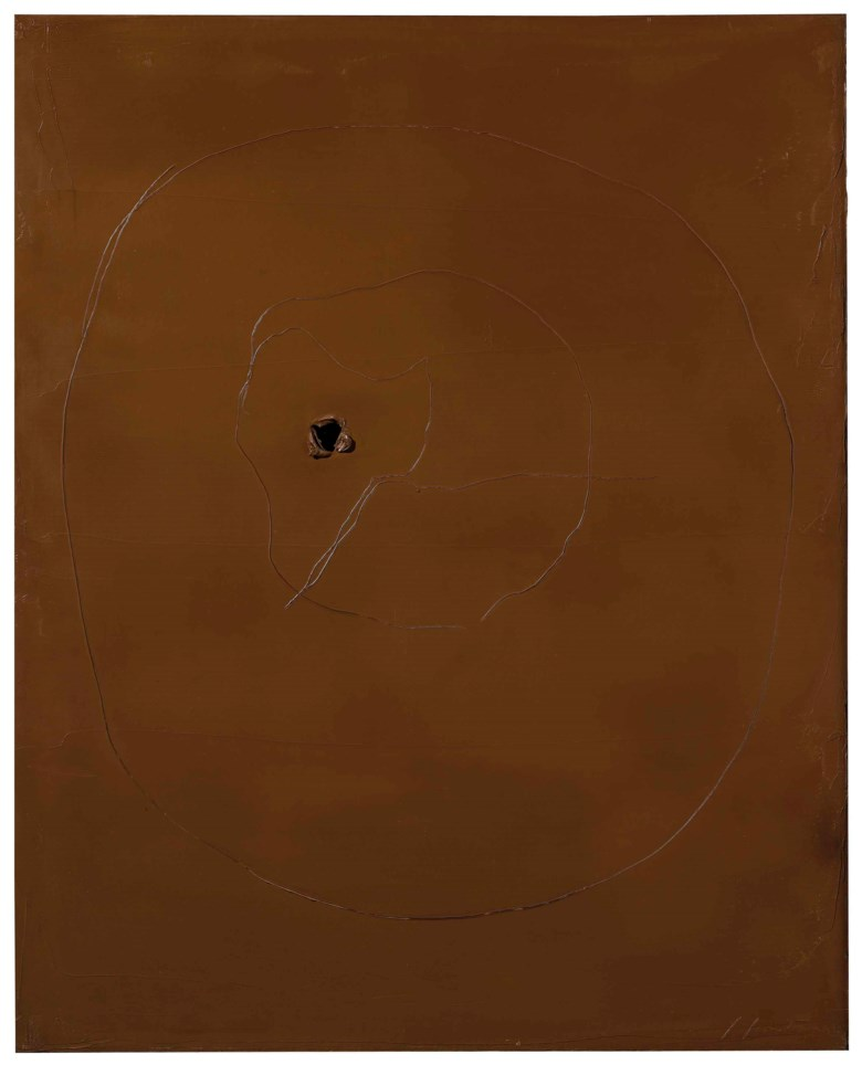 Lucio Fontana (1899-1968), Concetto spaziale, 1959. 100 x 81 cm. Estimate €300,000-400,000. This lot is offered in Milan Modern and Contemporary Art on 11 April 2018  at Christie's in Milan