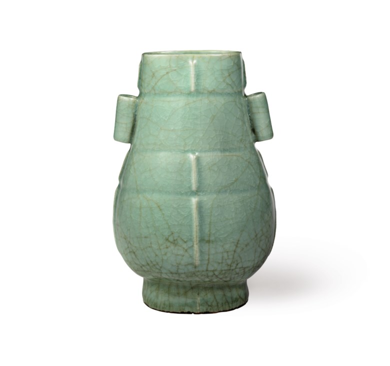 A very rare and important Guan-type Longquan Celadon Hu-shaped vase, Southern Song dynasty (1127-1279). 8⅞  in (22.5  cm) high, Japanese triple wood box. Sold for $1,092,500 on 22 March 2018 at Christie's in New York