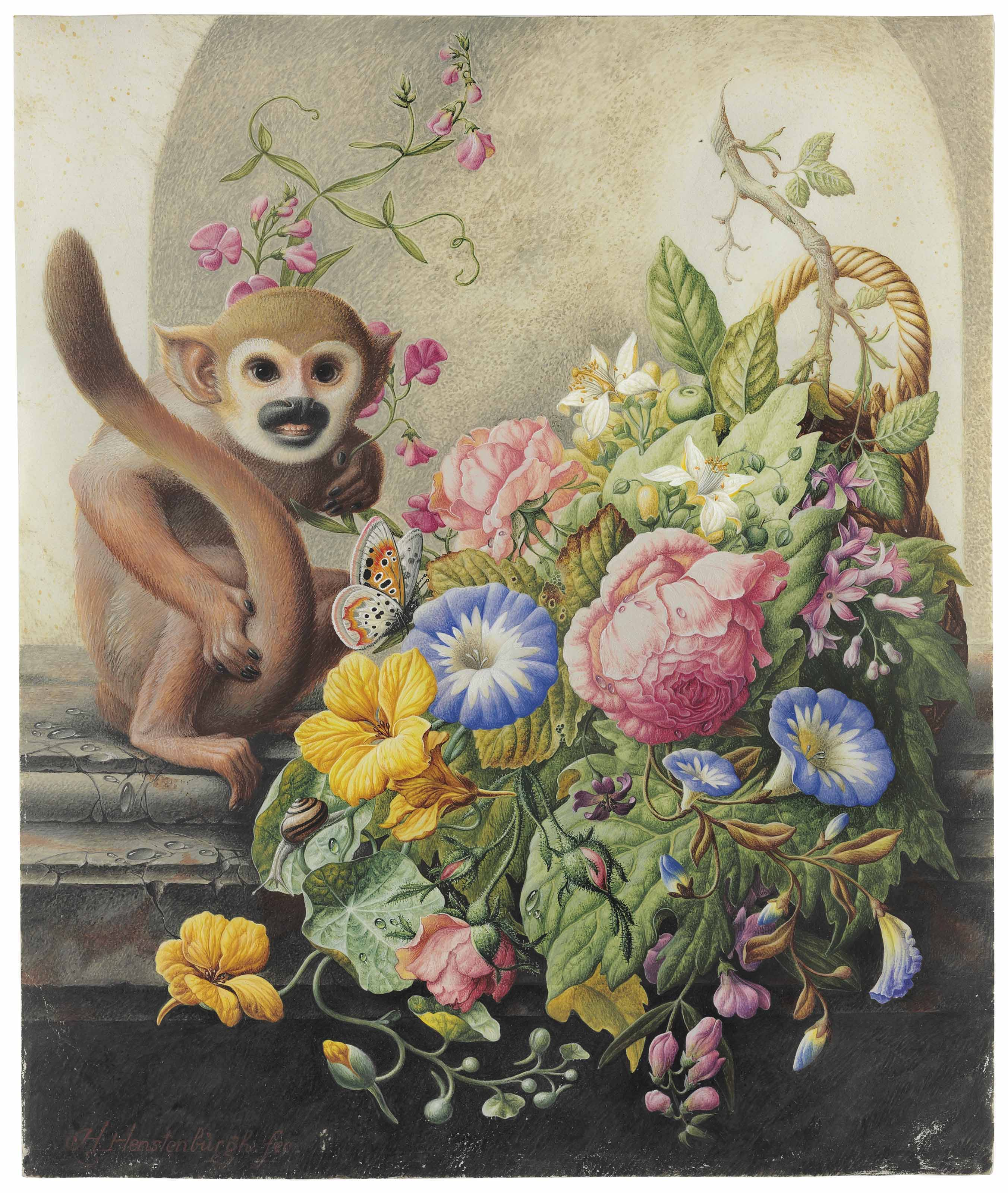 A still life with a monkey, a butterfly and a basket with flowers including Nasturtiums, Morning Glory, Roses and Everlasting Pea