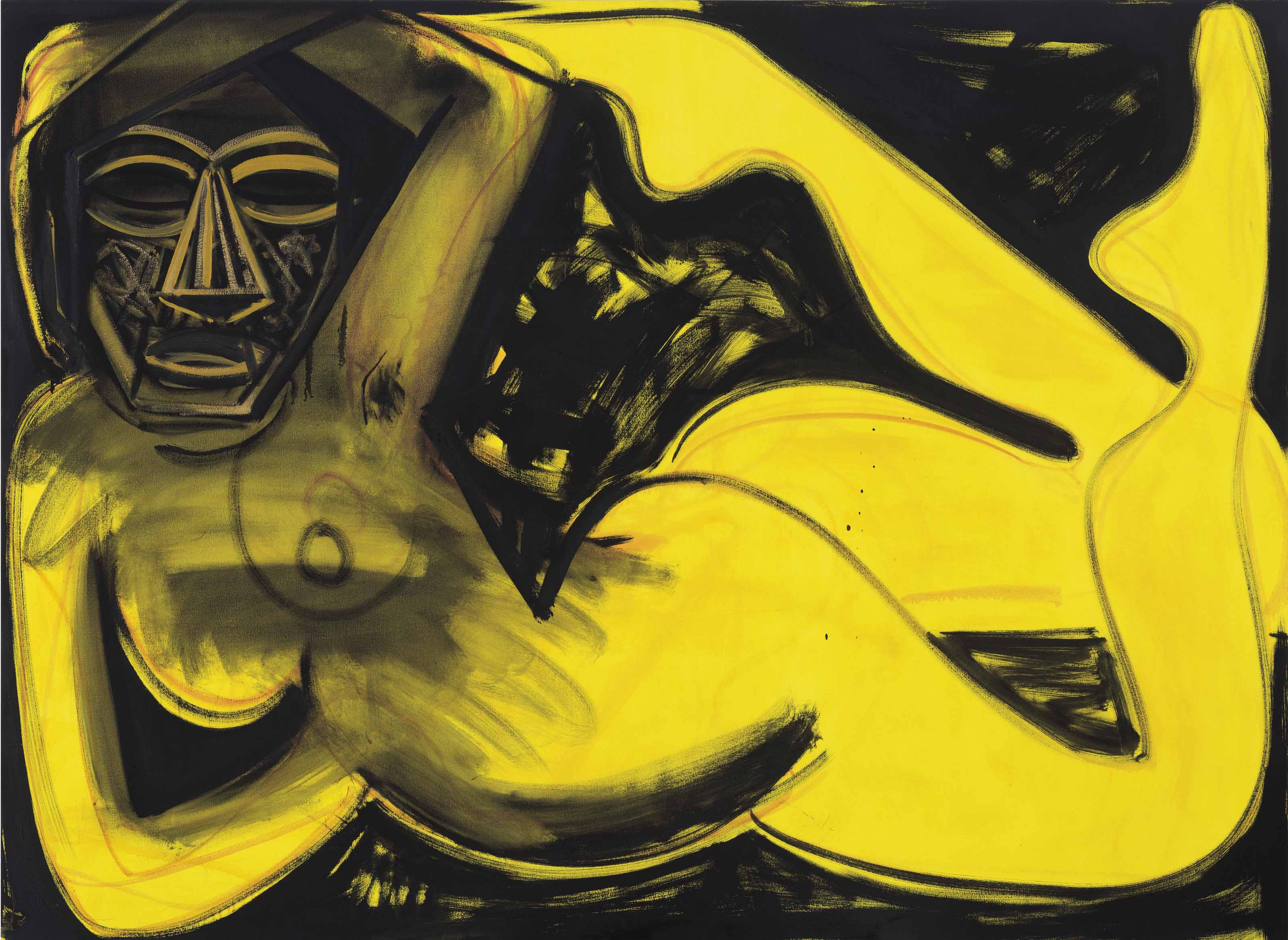 Untitled (Gold and Ochre Face)