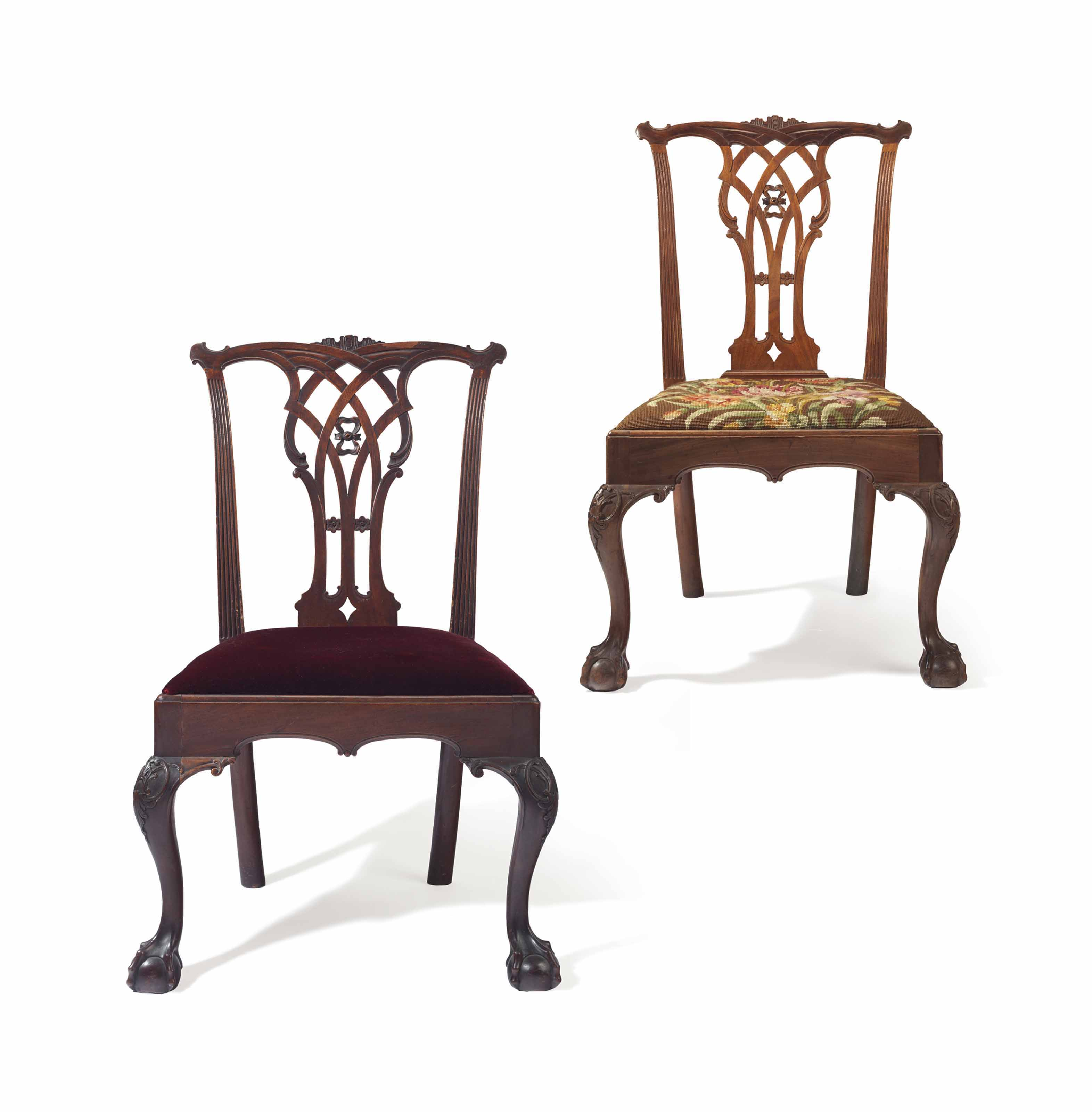THE RICHARD EDWARDS PAIR OF CHIPPENDALE CARVED MAHOGANY SIDE CHAIRS