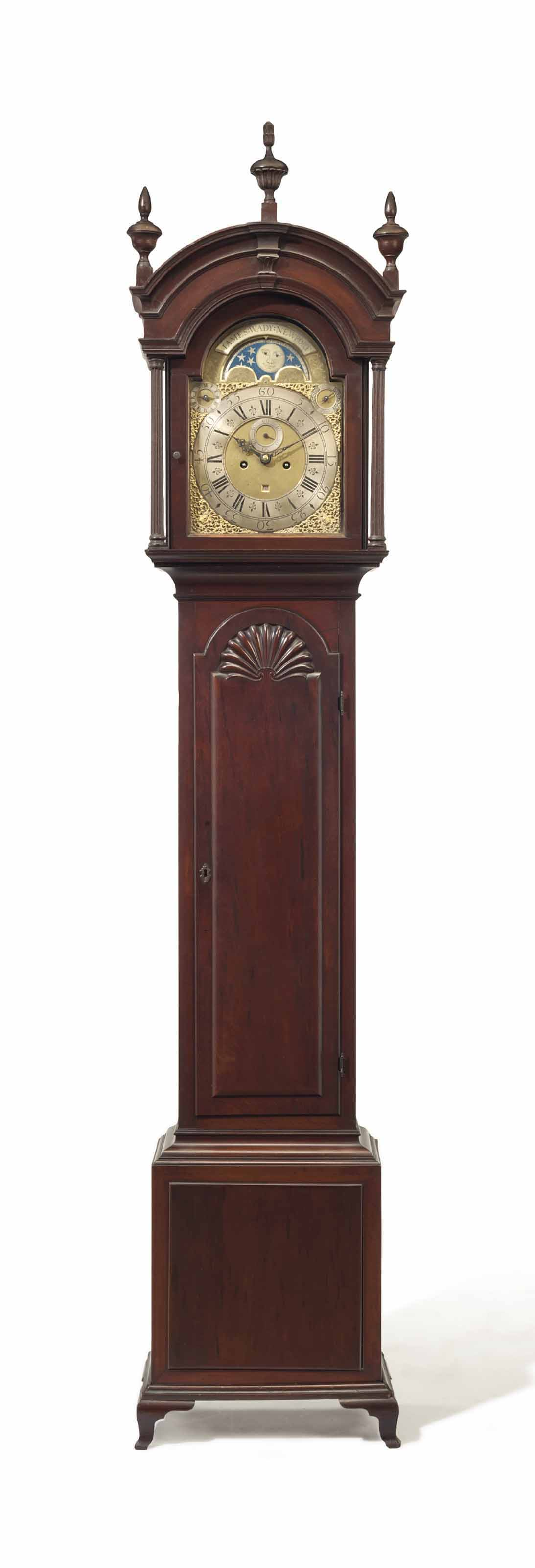 THE HUNTER-DUNN FAMILY CHIPPENDALE PLUM PUDDING MAHOGANY BLOCK-AND-SHELL TALL-CASE CLOCK