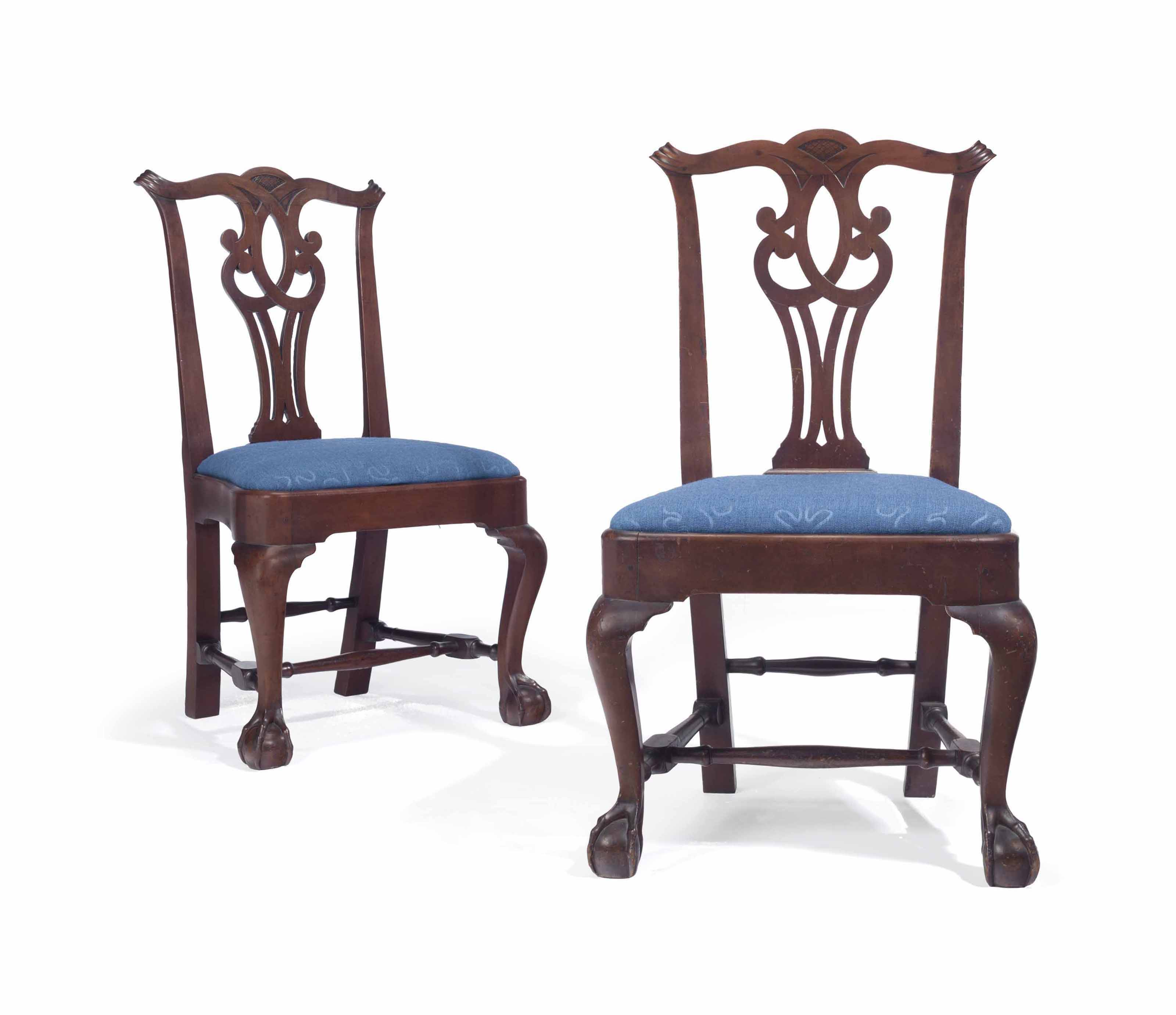 THE JOHN TOWNSEND PAIR OF CHIPPENDALE CARVED MAHOGANY SIDE CHAIRS