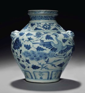 A VERY RARE BLUE AND WHITE 'PEACOCK' JAR, GUAN