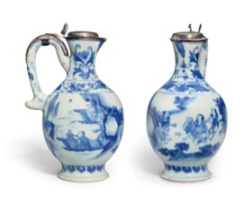 A BLUE AND WHITE EWER WITH SILVER MOUNTS