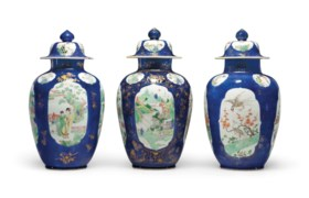 THREE FAMILLE VERTE POWDER-BLUE-GROUND JARS AND COVERS