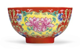A FAMILLE ROSE CORAL-GROUND BOWL