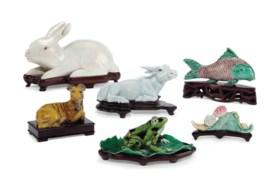 清及以後 瓷塑動物一組五件