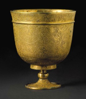 A SMALL FINELY-ENGRAVED GILT-BRONZE STEM CUP
