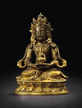 清十八世紀 銅鎏金阿彌陀佛小坐像