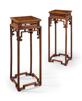 A PAIR OF HONGMU BAMBOO-FORM INCENSE STANDS