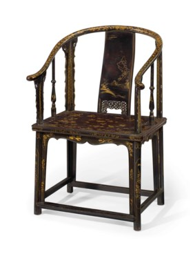 A VERY RARE LACQUERED SOFTWOOD HORSESHOE-BACK ARMCHAIR, QUAN