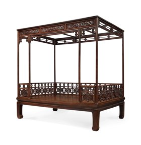 A VERY RARE HUANGHUALI SIX-POSTER CANOPY BED, JIAZICHUANG