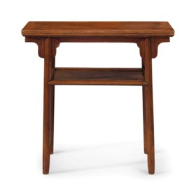 A SMALL HUANGHUALI  RECESSED-LEG SIDE TABLE, PINGTOU'AN