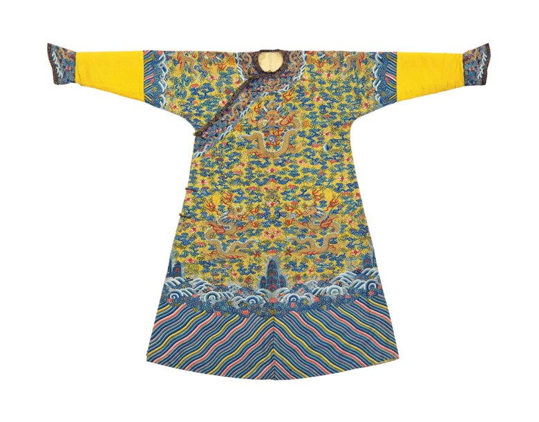 a3c75262c30 A magnificent imperial yellow kesi twelve-symbol dragon robe made for the  emperor