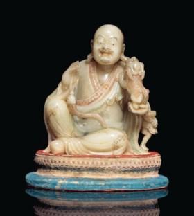 十七/十八世紀 壽山石雕笑獅羅漢坐像