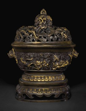 A FINELY CAST PARCEL-GILT BRONZE CENSER, COVER AND STAND