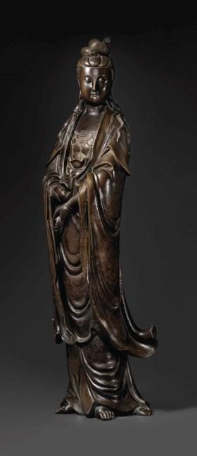 清十九世紀 銅錯銀觀音立像
