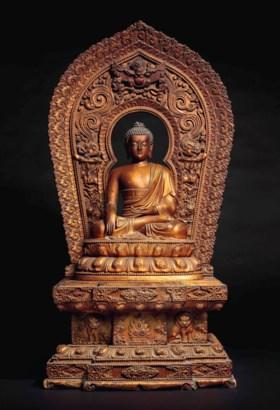 十七/十八世紀 金漆木雕釋迦牟尼佛坐像