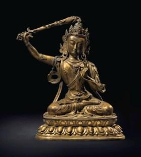 清十八世紀 鎏金銅文殊菩薩坐像
