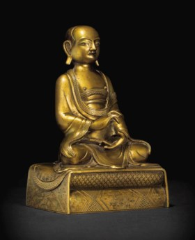 清十八世紀 銅鎏金喇嘛坐像