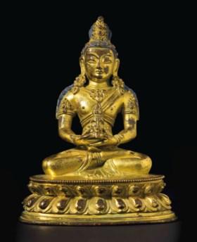 清十八世紀 銅鎏金阿彌陀佛坐像