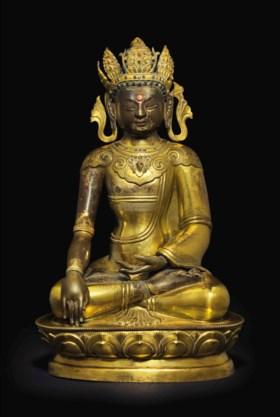 清十八/十九世紀 銅鎏金錘鍱菩薩坐像